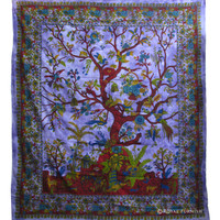 Purple Indian Tree of Life Hippie Tie Dye Dorm Decor Tapestry Wall Hanging