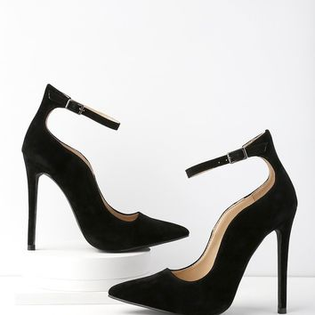 Porter Black Suede Ankle Strap Pumps