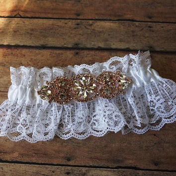Wedding Garter Rose Gold Bridal Garter Crystal Rhinestone  Bridal Garter White Lace Garter Lace Wedding Garter