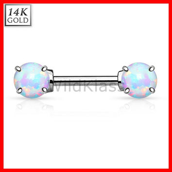 14k Gold Nipple Ring 14g Barbell 14k Solid Gold White Gold with Opal Stones Nipple Piercing Cartilage Earring Eyebrow Jewelry Nipple Bar