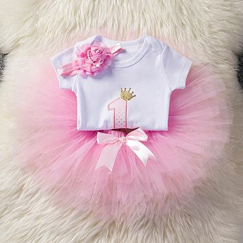 Sweet Pink Little Girl Princess Sets Kids Clothes Girl Baby Clothing Set Children Costume Tutu One Birthday Set For 12 Months