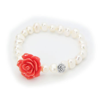 Fronay Ceramic Pink Rose Fresh Water Pearl Stretch Bracelet for Women, Sterling Silver