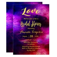 Bridal shower burgundy blue watercolor gold card