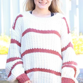 {Dk. Rose} Wide Neck Chunky Knit Striped Sweater