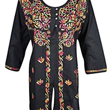 Mogul Womens Indian Tunic Shirt Cotton Black Button Front Chikankari Embroidered Blouse Top