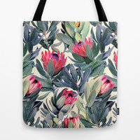 Painted Protea Pattern Tote Bag by Micklyn