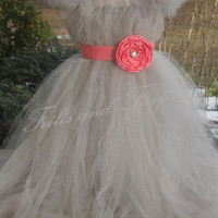 Silver Grey Flower Girl Tutu Dress with Coral Sash and Flower.. Great Flower Girl Dress, Party Dress, Costume,   Can be made in Other Colors