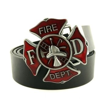 New Fashion Mens Leather Fire Fighter Fire Dept Belt Buckles For Firefighter Gifts
