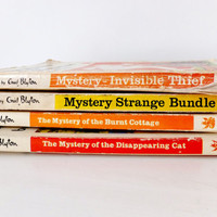 Enid Blyton vintage books, Set of Four Childrens Fiction Books, Nursery Decor, Summer Reading for kids, instant collection