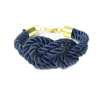Navy Knot Bracelet, Silk Cord Dark Blue Nautical Knot Bracelet, Bridesmaids Rope Sailors Knot Bracelet