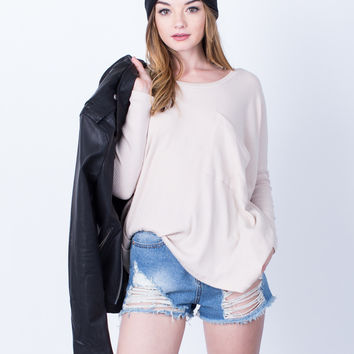 Waffle Knit Slouchy Top