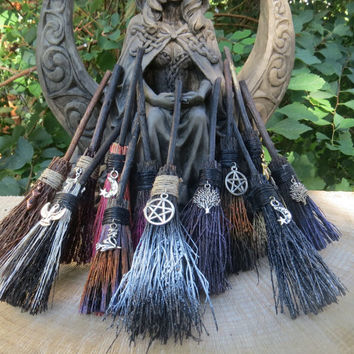 Altar Broom, MINI Witches Altar  Broom, Travelling Protection, Mini Broom for Small Altar,  Witchcraft, Wicca, Rear View Mirror Witch Broom