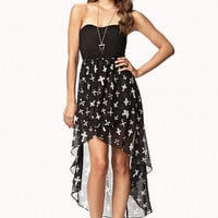 Cross Print High-Low Dress
