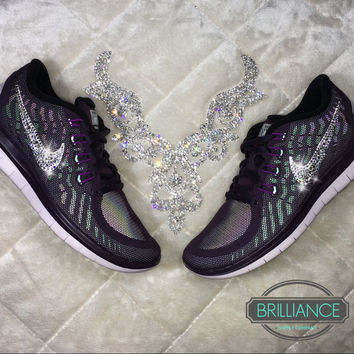 Swarovski Nike Shoes Bling Women's Nike Free 5.0 Purple Flash Premium Running Shoes Customized with Swarovski® Crystals Authentic New In Box