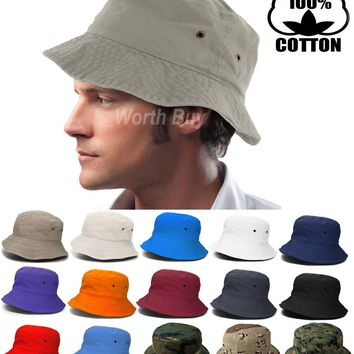 Bucket Hat Cap Fishing Boonie Brim visor Sun Safari Summer Mens Womens Camping