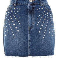 MOTO Studded Denim Mini Skirt - Skirts - Clothing