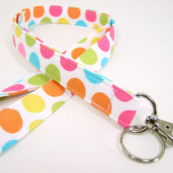Polka Dot Fabric Lanyard - ID Badge and Key Ring  in Michael Miller Diddly Dots - Optional Black Breakaway Buckle