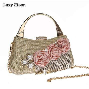 LUXY MOON Women Handbag Fashion Flower Tassels Day Clutches Diamond Beaded Women's Purse Wallet Wedding Bags with Chain ZD740