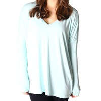 Mint Piko V-Neck Long Sleeve Top