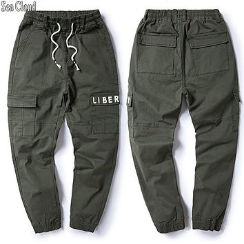Sea Cloud Free shipping big size M-8xl plus men jeans cargo pants cotton male waist waist long trousers loose pants 3 colors