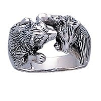 Silver Plated Wolves Kiss Kissing Love beast majestic Symbols of Power and Grace ring