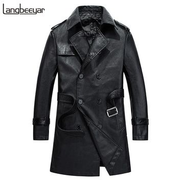 LANGBEEYAR Fashion Long Mens Leather Jackets And Coats Trend Motorcycle Leather Jacket Men Double-breasted Jacket Leather Men
