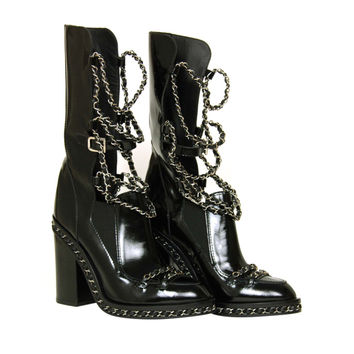CHANEL Black Glazed Chain Obsession Boots w/ Thigh-high Lambskin Gaiter Leggings sz 38
