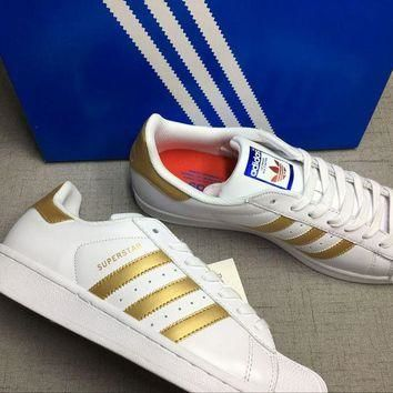 Adidas Superstar ?€?White/Gold""