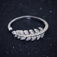 925 sterling silver crystal diamond leaf opening ring,cute leaf ring,a fashion gift