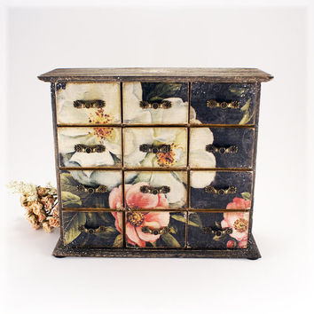 Shabby Black Elegance Wooden Mini chest drawers, classic style , Vintage look decoupage
