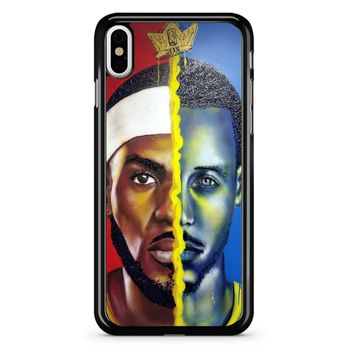 Lebron James Vs Steph Curry Painting iPhone X Case