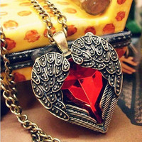 Ruby Crystal Stone Angel Wings Heart Pendent Necklace