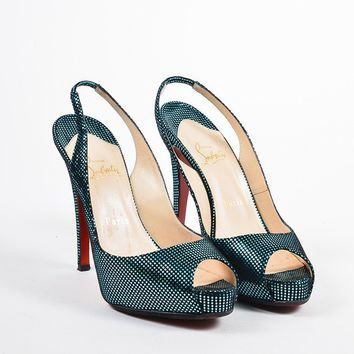 HCXX Christian Louboutin Turquoise and Black   No Prive   Slingback Pumps