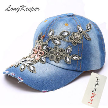 LongKeeper Ladies' Steampunk Caps Steam Punk Baseball Cap Women Snapback Hats Crystal Rhinestone Floral Denim Van Gorras MYW81