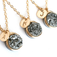Silver Druzy Personalized Initial Necklaces Wedding Bridesmaid Gifts