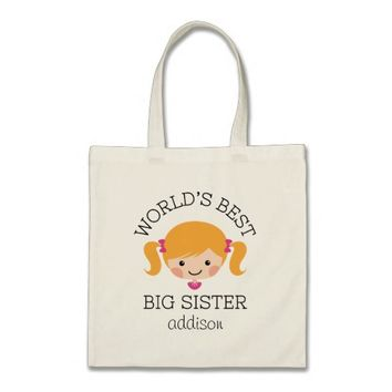 Worlds best big sister blond hair personalized budget tote bag