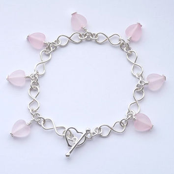Silver and Pink Wirework Bracelet 01- Silver Infinity Shaped Chain Links, Pink Heart Shaped Charms, Hand Crafted, Plus Size