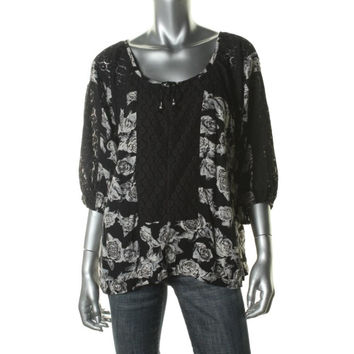 Free People Womens Floral Print 3/4 Sleeves Blouse