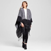 Women's Ruana Wrap with Print and Fringe Black - Sylvia Alexander