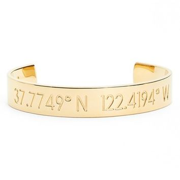 Women's Coordinate Collection 'Compass - Horizon' Engraved Cuff - Gold-