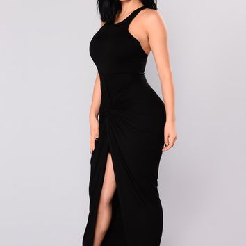 Lizette Draped Dress - Black