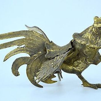 "Brass Rooster Figurine Classic 4"" Design with Beautiful Natural Patina"
