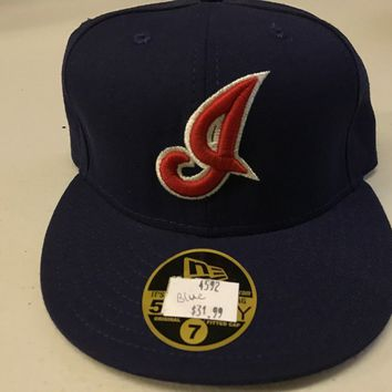 "NWT CLEVELAND INDIANS ""I"" RETRO OLD STYLE FLAT BRIM NEW ERA 5950 FITTED HAT"