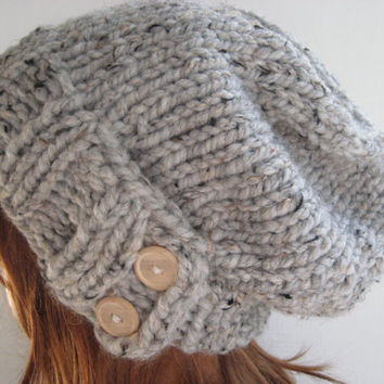 Slouchy Knit Hat Cloche Hat Chunky Wool Hat by knittingtreasures