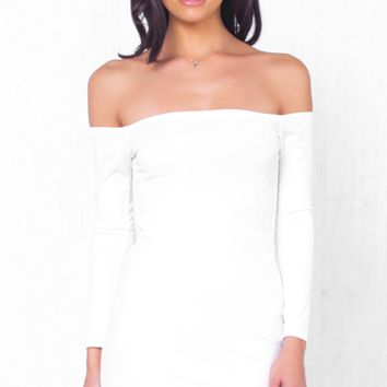 Indie XO Let Her Zip White Long Sleeve Off The Shoulder Zipper Accent Bodycon Mini Dress - Just Ours!