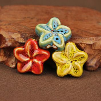5pcs/lot Satr Shape Flower Pattern Ceramic Beads 3mm Big Hole Porcelain European Charm Beads for DIY Necklace Jewelry Making