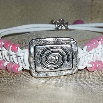 Ocean Themed Pink Glass Beaded White Leather Artisan Crafted Macrame Bracelet/Anklet