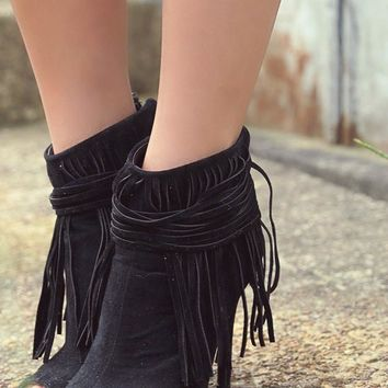 Livingstone Falls Black Peep Toe Zip Up Ankle Booties Fringe