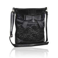 Cute Faux Leather Crossbody Bag-Lace Purse with Bow Accent and Adjustable Strap