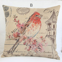 Vintage Style Bird Drawing Decorative Pillow Case 039